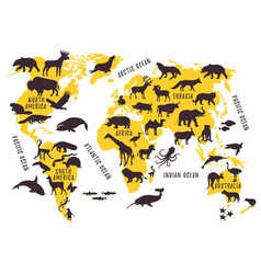 cartoon world map with animals silhouettes for vector image