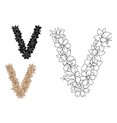Floral letter V with retro stylized flowers vector image