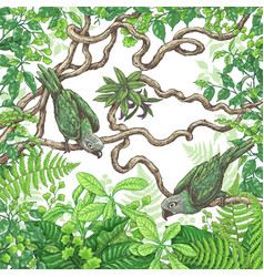 green parrots sitting on branches vector image