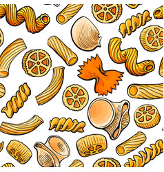 seamless pattern backdrop design of italian pasta vector image vector image