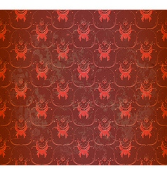 Seamless red wallpaper with floral ornament vector image vector image