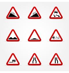 set of warnings road signs vector image vector image