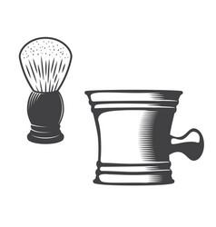 shaving mug and brush vector image