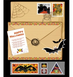 thanksgiving stamps and envelope vector image vector image