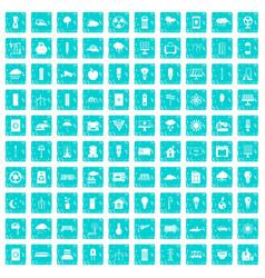 100 windmills icons set grunge blue vector