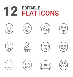 12 cheerful icons vector