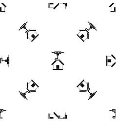 3d printer printing house pattern seamless black vector image