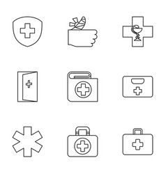 9 aid icons vector image