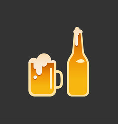 a glass and a bottle of beer vector image