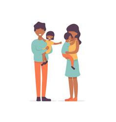 afro family father and daugther mother and son vector image
