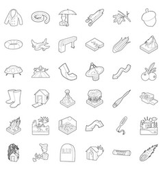 Air quality icons set outline style vector