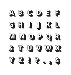 alphabet long shadows font bold letters vector image