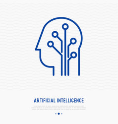 Artificial intelligence thin line icon vector