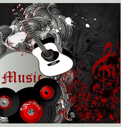 Background with guitar and music notes party vector