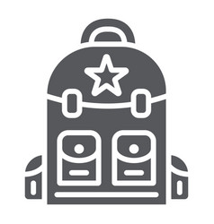 Backpack glyph icon camping and travel bag sign vector