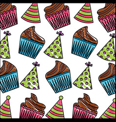 birthday cupcakes and party hats decoration vector image