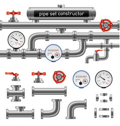 Black pipe set constructor vector