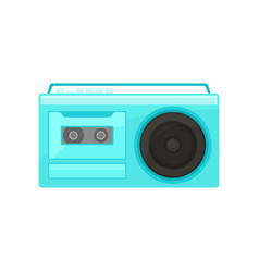blue retro radio with handle vintage cassette vector image