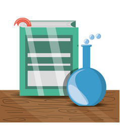Book and erlenmeyer flask with education knowledge vector