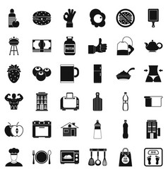 Breakfast icons set simple style vector