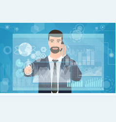 Businessman working using virtual media interface vector