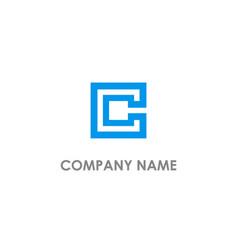 C initial square line logo vector