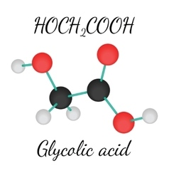 C2H4O3 glycolic acid molecule vector image