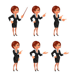 Cartoon business woman presentation set vector