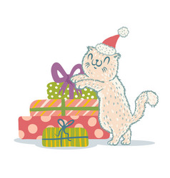 Cat with christmas gifts vector