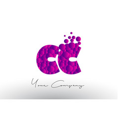 Cc c c dots letter logo with purple bubbles vector
