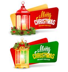 christmas festive banners with vintage lantern set vector image