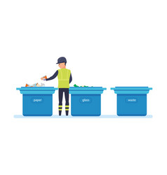 Cleaning city household waste recycling vector