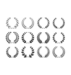 Collection of laurel wreaths vector