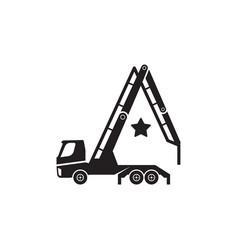 Concrete pump truck silhouettes logo looks like a vector