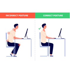 Correct sitting computer posture office vector