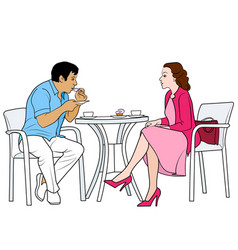 Couple drinking coffee vector