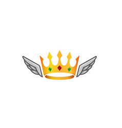 creative crown wings logo vector image
