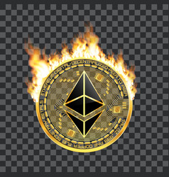 crypto currency ethereum golden symbol on fire vector image