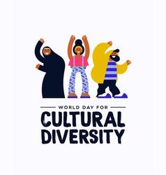 cultural diversity diverse friend group card vector image