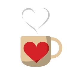 cup coffee love heart hot vector image
