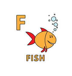 cute cartoon animals alphabet fish vector image