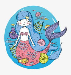Cute mermaid woman with shells and fishes vector