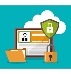 Cyber security and tablet design vector