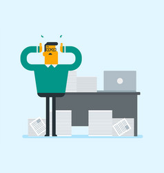 Despair office worker with heaps of papers vector