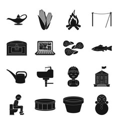 doll food plumbing and other web icon in black vector image
