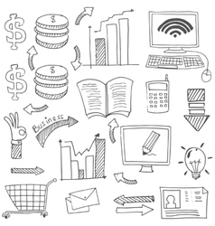Doodle of business stock flat vector image