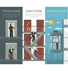 Elevator escalator stairs vertical banner set vector