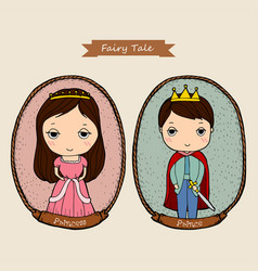 Fairy tale couple prince and princess in frame vector