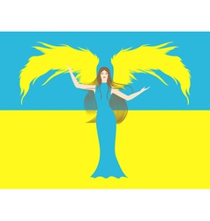 Female angel against the flag of Ukraine vector