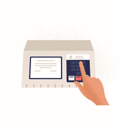 Finger pressing button on electronic voting vector